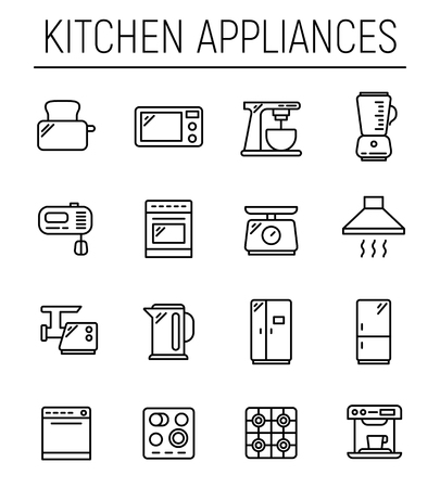 Set of 16 kitchen appliances thin line icons. High quality pictograms of kitchen household. Modern line art style icons collection. Microwave, fridge, toaster, blender, pot and others.