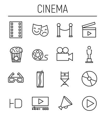 Set of cinema icons in modern thin line style. High quality black outline movie symbols for web site design and mobile apps. Simple cinema pictograms on a white background.