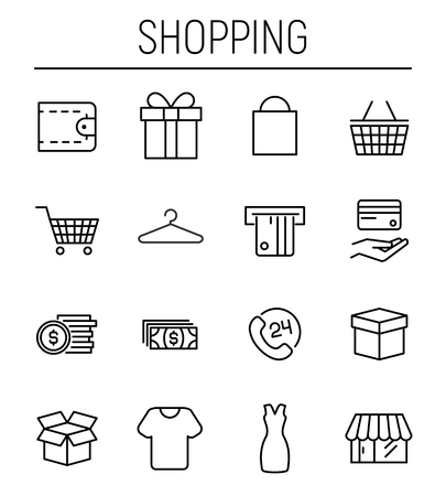 gift basket: Set of shopping icons in modern thin line style.  High quality black outline commerce symbols for web site design and mobile apps. Simple shopping pictograms on a white background.