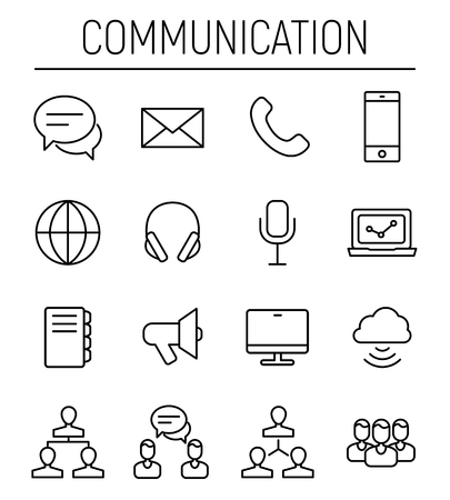 Set of communication icons in modern thin line style Ilustracja