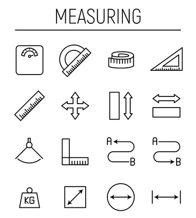 depth measurement: Set of measuring icons in modern thin line style