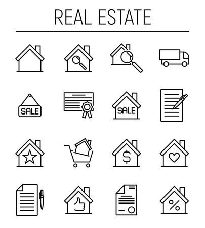 real estate house: Set of real estate icons in modern thin line style