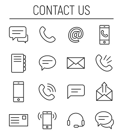 Set of contact us icons in modern thin line style. High quality black outline communication symbols for web site design and mobile apps. Simple contact pictograms on a white background. Illustration