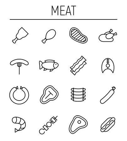 Set of meat icons in modern thin line style. High quality black outline beef, ribs, shrimp symbols for web site design and mobile apps. Simple linear meat pictograms on a white background.