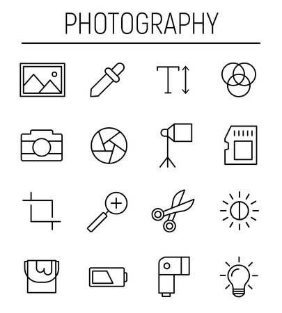 Set of photography icons in modern thin line style. High quality black outline camera symbols for web site design and mobile apps. Simple photography pictograms on a white background. Illustration