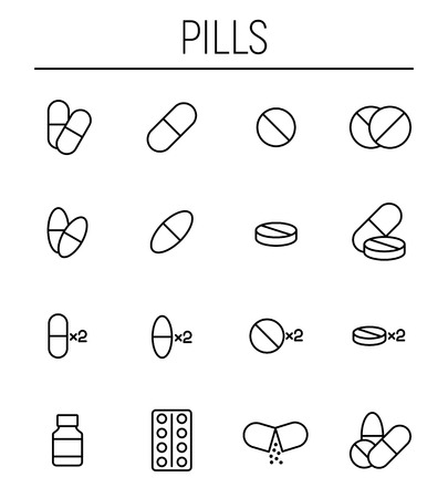 heart disease: Set of pills icons in modern thin line style