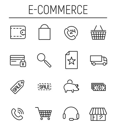 gift basket: Set of e-commerce icons in modern thin line style Illustration