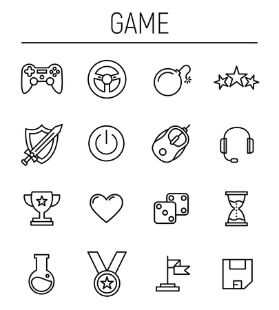 handheld device: Set of game icons in modern thin line style
