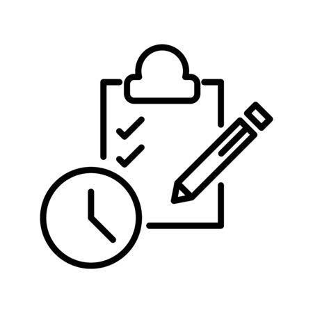 Thin line time management icon vector illustration isolated on a white background.