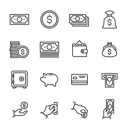 Ensemble de 16 icônes fines en argent. Pictogrammes de finances de haute qualité. Collection d'icônes de style moderne. Portefeuille, commerce, guichet automatique, carte, paiement, investissement, monnaie, etc.