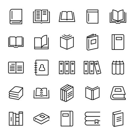 Set di 25 icone della linea sottile di libro. Pittogrammi di alta qualità di lettura. Collezione di icone di stile moderno di contorno. Diario, biblioteca, pagine, libri di testo, ecc.