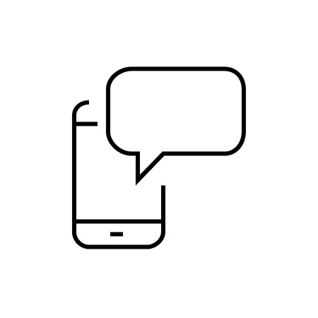 rumour: Thin line message icon. Vector illustration isolated on a white background. Simple outline pictogram of message.