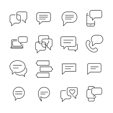 Set of 16 message thin line icons. High quality pictograms of babble. Modern outline style icons collection. Chat, SMS, communication, contact, etc. Editable stroke. 48x48 Pixel Perfect.