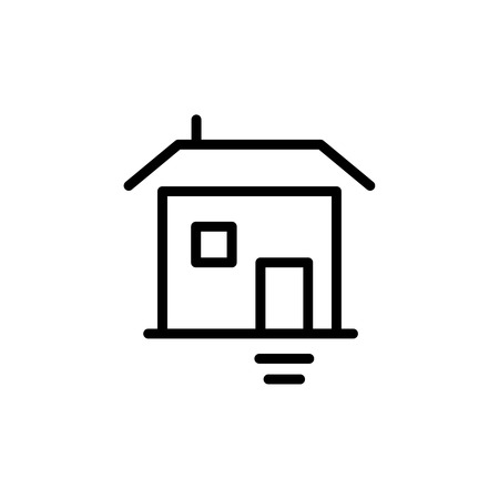 office building: Premium home icon or logo in line style. High quality sign and symbol on a white background. Illustration
