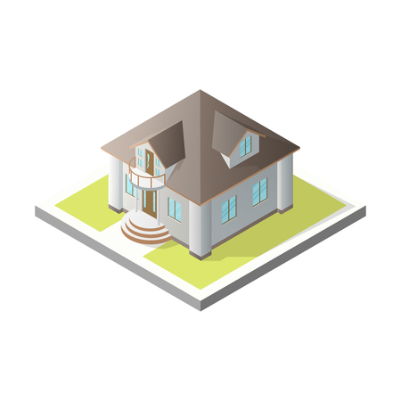 Isometric House. 3D Cottage. Vector illustration on a white background. Illustration