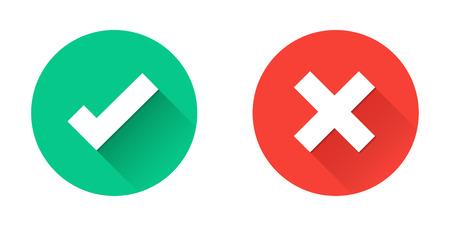 Marcas de verificación verde tick y Cruz Roja en círculo iconos planos. Ilustración de vector aislado en un fondo blanco. Aceptación de los resultados de votación. Calidad premium.
