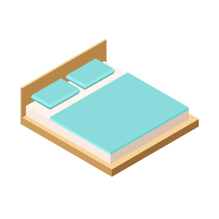 headboard: Isometric double bed with mattress and a high back. Vector illustration on a white background. Two pillows on a double bed. Illustration