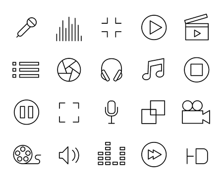 Set of sounds and video line icons. Ilustrace