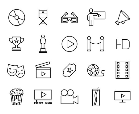 Premium set of cinema line icons. Simple pictograms pack. Stroke vector illustration on a white background.