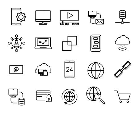 mobile communication: Premium set of internet line icons. Simple pictograms pack. Stroke vector illustration on a white background. Illustration