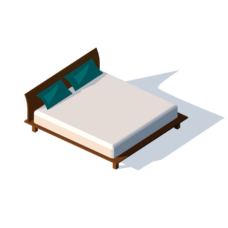 twin bed: Isometric double bed with mattress and a high back. Vector illustration on a white background. Two pillows on a double bed. Illustration