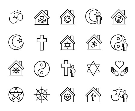 jewish star: Premium set of religion line icons. Simple pictograms pack. Stroke vector illustration on a white background. Illustration