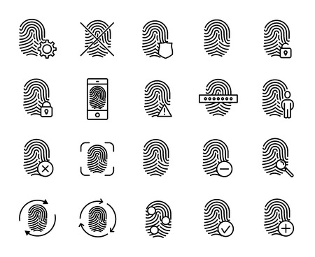 Premium set of finger print line icons. Simple pictograms pack. Stroke vector illustration on a white background. Modern outline style icons collection.