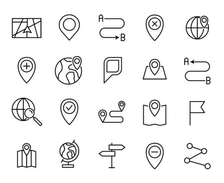 Premium set of map line icons. Simple pictograms pack. Stroke vector illustration on a white background. Modern outline style icons collection.