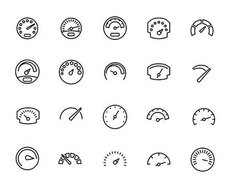 excess: Premium set of speedometer line icons. Simple pictograms pack. Stroke vector illustration on a white background. Modern outline style icons collection. Illustration