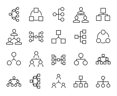 Premium set of hierarchy line icons. Simple pictograms pack. Stroke vector illustration on a white background. Modern outline style icons collection. Vector Illustration