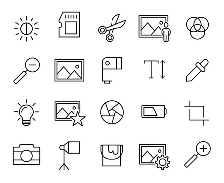 Premium set of photography line icons. Simple pictograms pack. Stroke vector illustration on a white background. Modern outline style icons collection.