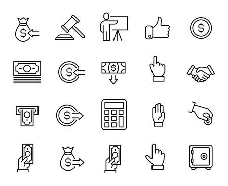 Prosta kolekcja ikon związanych z aukcją. Cienka linia wektorowa zestaw znaków dla infografiki, logo, aplikacji i stron internetowych. Symbole Premium samodzielnie na białym tle.