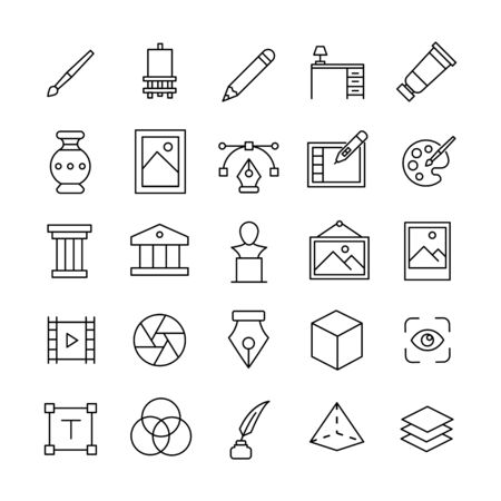Set of art related vector line icons. Premium linear symbols pack. Vector illustration isolated on a white background. Web symbols for web sites and mobile app. Trendy design.