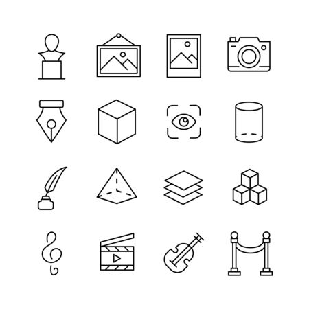 Stroke line icons set of art. Simple symbols for app development and website design. Vector outline pictograms isolated on a white background. Pack of stroke icons. Ilustração