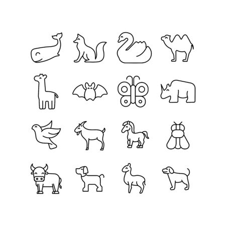 Stroke line icons set of animals. Simple symbols for app development and website design. Vector outline pictograms isolated on a white background. Pack of stroke icons. Ilustrace