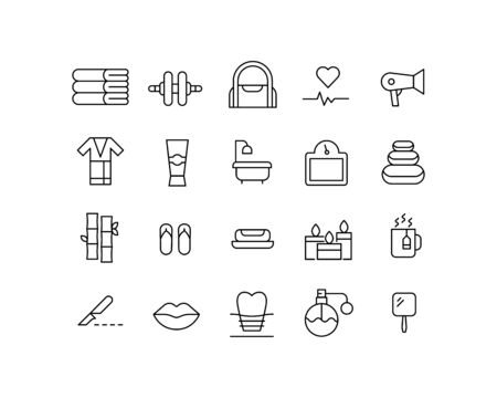 Premium set of beauty line icons. Web symbols for web sites and mobile app. Modern vector symbols, isolated on a white background. Simple thin line signs.