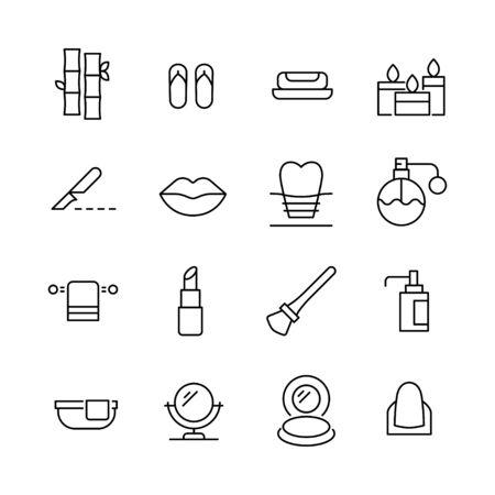 Set of beauty related vector line icons. Premium linear symbols pack. Vector illustration isolated on a white background. Web symbols for web sites and mobile app. Trendy design.  Ilustracja