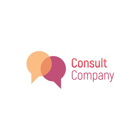 Consult vector logo. Speech bubble template for consulting company. Vector illustration isolated on a white background. Design business logo. Speech bubble for banner, cover, poster or placard. Ilustrace