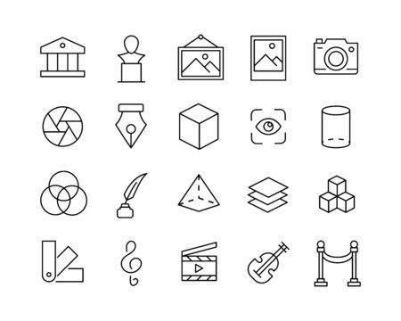 Simple set of art modern thin line icons. Trendy design. Pack of stroke icons. Vector illustration isolated on a white background. Premium quality symbols.