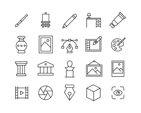 Premium set of art line icons. Web symbols for web sites and mobile app. Modern vector symbols, isolated on a white background. Simple thin line signs.