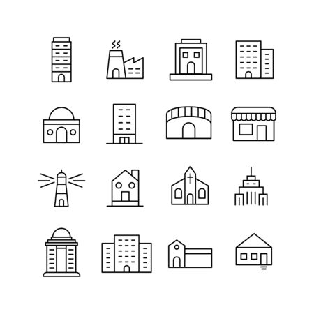 Set of buildings related vector line icons. Premium linear symbols pack. Vector illustration isolated on a white background. Web symbols for web sites and mobile app. Trendy design. Ilustração