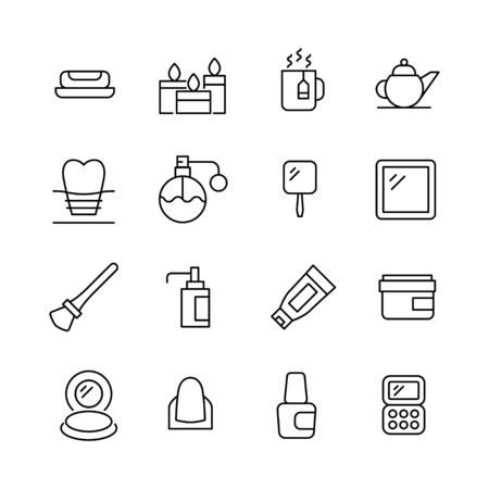 Stroke line icons set of beauty. Simple symbols for app development and website design. Vector outline pictograms isolated on a white background. Pack of stroke icons.  Ilustracja