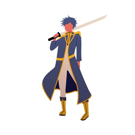 Vector knight in trendy flat style. Mascot for your business in anime style. Man with a sword illustration isolated on a white background. Warrior before battle.