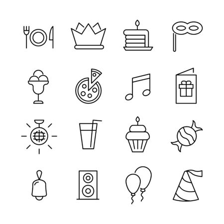 Stroke line icons set of Birthday. Simple symbols for app development and website design. Vector outline pictograms isolated on a white background. Pack of stroke icons. Vettoriali