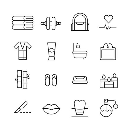 Big set of beauty line icons. Vector illustration isolated on a white background. Premium quality symbols. Stroke vector icons for concept or web graphics. Simple thin line signs.