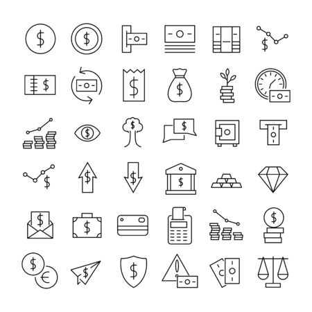 Premium set of Finance line icons. Web symbols for web sites and mobile app. Modern vector symbols, isolated on a white background. Simple thin line signs.