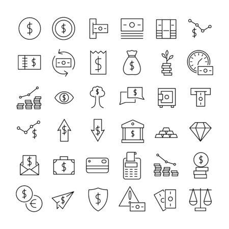 Premium-Reihe von Symbolen für die Finanzlinie. Websymbole für Websites und mobile Apps. Moderne Vektorsymbole, isoliert auf weißem Hintergrund. Einfache dünne Linienzeichen.