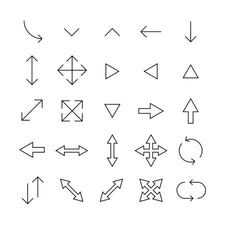Jeu d'icônes de ligne de course de flèche. Symboles simples pour le développement d'applications et la conception de sites Web. Pictogrammes de contour vectoriel isolés sur fond blanc. Pack d'icônes d'AVC.