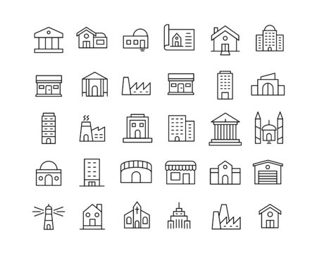 Modern thin line icons set of buildings. Premium quality symbols. Simple pictograms for web sites and mobile app. Vector line icons isolated on a white background.