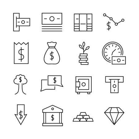 Simple set of Finance icons in trendy line style. Modern vector symbols, isolated on a white background. Linear pictogram pack. Line icons collection for web apps and mobile concept. Иллюстрация